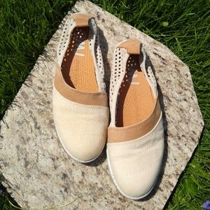 Emu Canvas and Leather Slip-ons